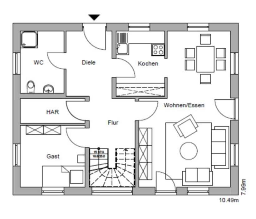 Einfamilienhaus massivhaus typ rh n landhaus for Einfamilienhaus mit grundriss